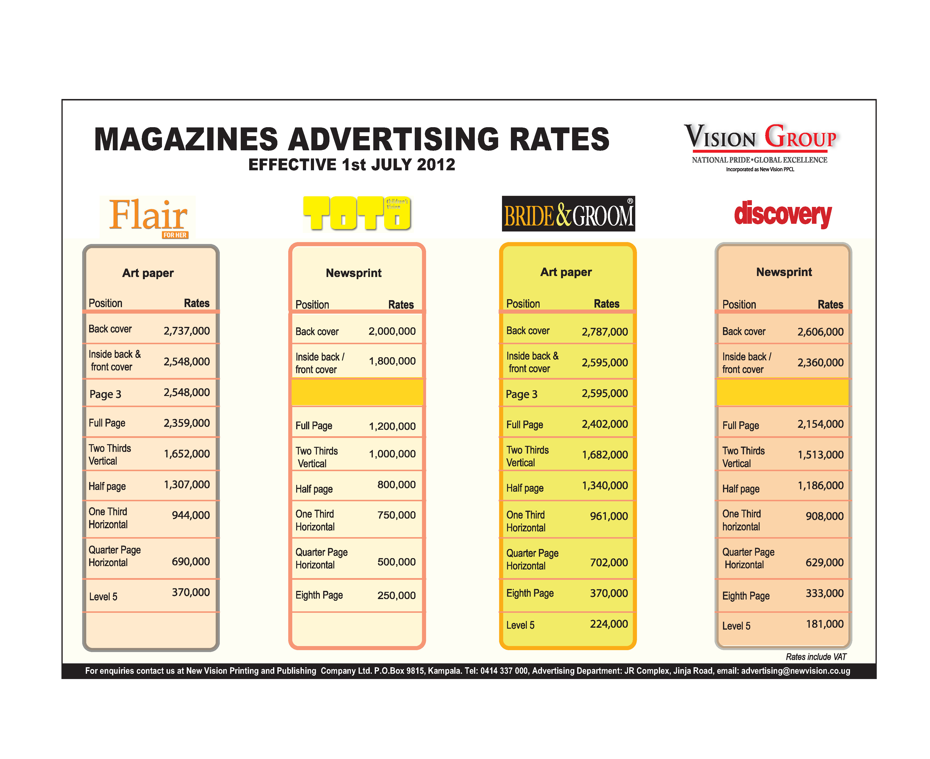 Rate Cards For Magazines Magazine Rate Card 2012
